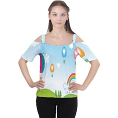 Landscape Sky Rainbow Garden Women s Cutout Shoulder Tee