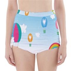 Landscape Sky Rainbow Garden High-Waisted Bikini Bottoms