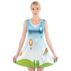 Landscape Sky Rainbow Garden V-Neck Sleeveless Skater Dress