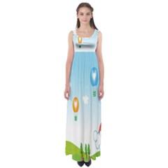 Landscape Sky Rainbow Garden Empire Waist Maxi Dress