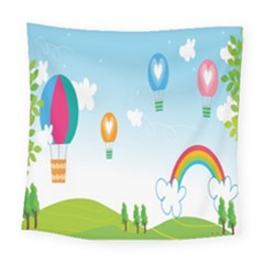 Landscape Sky Rainbow Garden Square Tapestry (large)