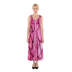 An Unusual Background Photo Of Black Swirls On Pink And Magenta Sleeveless Maxi Dress