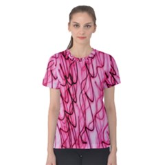 An Unusual Background Photo Of Black Swirls On Pink And Magenta Women s Cotton Tee