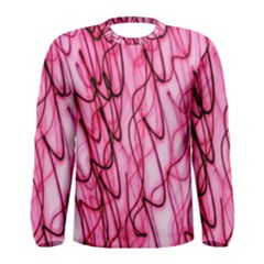 An Unusual Background Photo Of Black Swirls On Pink And Magenta Men s Long Sleeve Tee