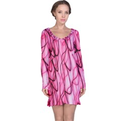 An Unusual Background Photo Of Black Swirls On Pink And Magenta Long Sleeve Nightdress