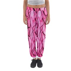 An Unusual Background Photo Of Black Swirls On Pink And Magenta Women s Jogger Sweatpants