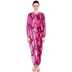 An Unusual Background Photo Of Black Swirls On Pink And Magenta OnePiece Jumpsuit (Ladies)