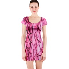 An Unusual Background Photo Of Black Swirls On Pink And Magenta Short Sleeve Bodycon Dress