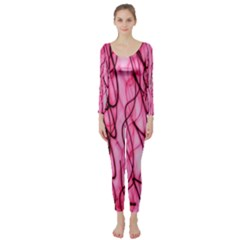 An Unusual Background Photo Of Black Swirls On Pink And Magenta Long Sleeve Catsuit