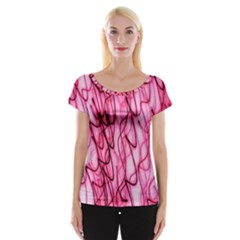 An Unusual Background Photo Of Black Swirls On Pink And Magenta Women s Cap Sleeve Top