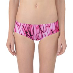 An Unusual Background Photo Of Black Swirls On Pink And Magenta Classic Bikini Bottoms