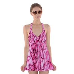 An Unusual Background Photo Of Black Swirls On Pink And Magenta Halter Swimsuit Dress