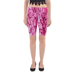An Unusual Background Photo Of Black Swirls On Pink And Magenta Yoga Cropped Leggings