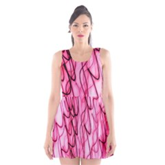 An Unusual Background Photo Of Black Swirls On Pink And Magenta Scoop Neck Skater Dress