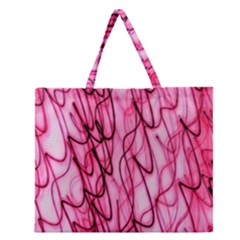 An Unusual Background Photo Of Black Swirls On Pink And Magenta Zipper Large Tote Bag