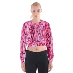An Unusual Background Photo Of Black Swirls On Pink And Magenta Women s Cropped Sweatshirt