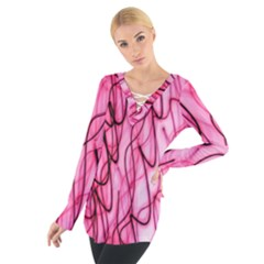 An Unusual Background Photo Of Black Swirls On Pink And Magenta Women s Tie Up Tee