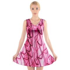 An Unusual Background Photo Of Black Swirls On Pink And Magenta V Neck Sleeveless Skater Dress
