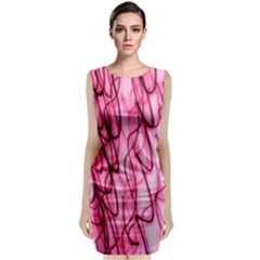 An Unusual Background Photo Of Black Swirls On Pink And Magenta Classic Sleeveless Midi Dress