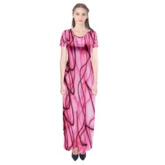 An Unusual Background Photo Of Black Swirls On Pink And Magenta Short Sleeve Maxi Dress