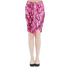 An Unusual Background Photo Of Black Swirls On Pink And Magenta Midi Wrap Pencil Skirt