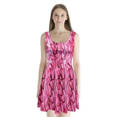 An Unusual Background Photo Of Black Swirls On Pink And Magenta Split Back Mini Dress