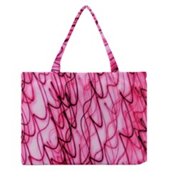 An Unusual Background Photo Of Black Swirls On Pink And Magenta Medium Zipper Tote Bag