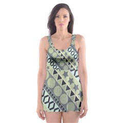 Abstract Seamless Pattern Skater Dress Swimsuit