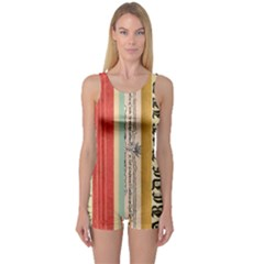 Digitally Created Collage Pattern Made Up Of Patterned Stripes One Piece Boyleg Swimsuit
