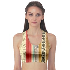 Digitally Created Collage Pattern Made Up Of Patterned Stripes Sports Bra