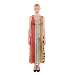 Digitally Created Collage Pattern Made Up Of Patterned Stripes Sleeveless Maxi Dress