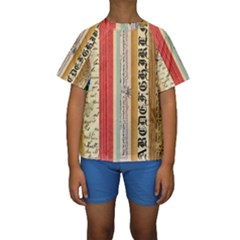 Digitally Created Collage Pattern Made Up Of Patterned Stripes Kids  Short Sleeve Swimwear