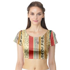 Digitally Created Collage Pattern Made Up Of Patterned Stripes Short Sleeve Crop Top (Tight Fit)