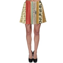 Digitally Created Collage Pattern Made Up Of Patterned Stripes Skater Skirt
