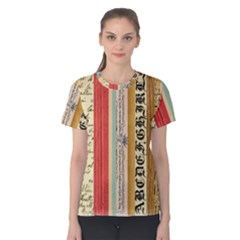 Digitally Created Collage Pattern Made Up Of Patterned Stripes Women s Cotton Tee