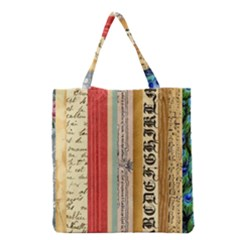 Digitally Created Collage Pattern Made Up Of Patterned Stripes Grocery Tote Bag