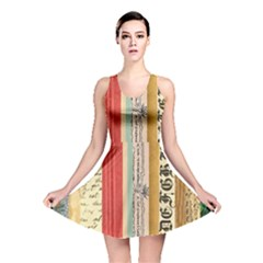 Digitally Created Collage Pattern Made Up Of Patterned Stripes Reversible Skater Dress