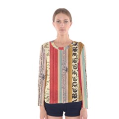 Digitally Created Collage Pattern Made Up Of Patterned Stripes Women s Long Sleeve Tee