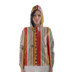 Digitally Created Collage Pattern Made Up Of Patterned Stripes Hooded Wind Breaker (women)