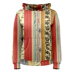 Digitally Created Collage Pattern Made Up Of Patterned Stripes Women s Pullover Hoodie
