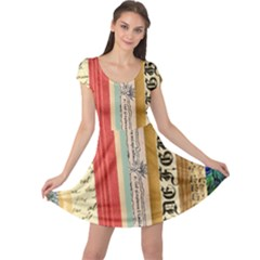 Digitally Created Collage Pattern Made Up Of Patterned Stripes Cap Sleeve Dresses