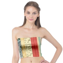 Digitally Created Collage Pattern Made Up Of Patterned Stripes Tube Top