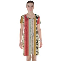 Digitally Created Collage Pattern Made Up Of Patterned Stripes Short Sleeve Nightdress