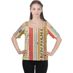 Digitally Created Collage Pattern Made Up Of Patterned Stripes Women s Cutout Shoulder Tee