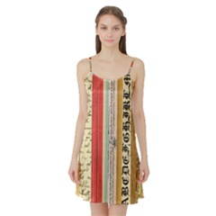 Digitally Created Collage Pattern Made Up Of Patterned Stripes Satin Night Slip