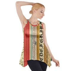 Digitally Created Collage Pattern Made Up Of Patterned Stripes Side Drop Tank Tunic