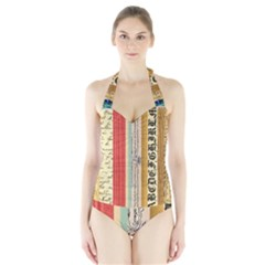 Digitally Created Collage Pattern Made Up Of Patterned Stripes Halter Swimsuit