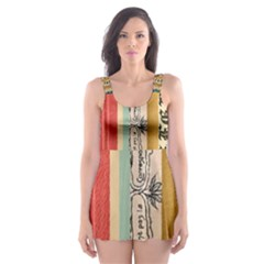 Digitally Created Collage Pattern Made Up Of Patterned Stripes Skater Dress Swimsuit