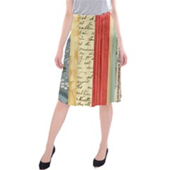 Digitally Created Collage Pattern Made Up Of Patterned Stripes Midi Beach Skirt