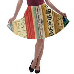 Digitally Created Collage Pattern Made Up Of Patterned Stripes A Line Skater Skirt